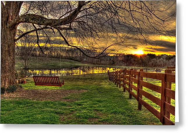 Southern Living Greeting Cards - Sunset Swing Swang Swung Greeting Card by Reid Callaway