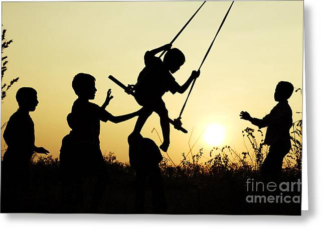 Playtime Greeting Cards - Sunset Swing Greeting Card by Tim Gainey