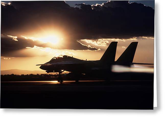 Desert Storm Greeting Cards - Sunset Take Off Greeting Card by Peter Chilelli