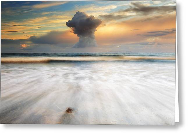 Cloud Formations. Cloud Photography Greeting Cards - Sunset Talisker bay Greeting Card by Grant Glendinning
