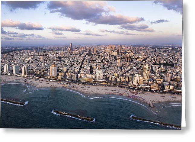 Ofir Ben Tov Greeting Cards - Sunset, Tel Aviv Greeting Card by Ofir Ben Tov