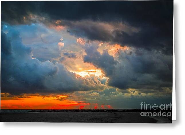 Anticipation Photographs Greeting Cards - Sunset Through Grey Storm Clouds  Greeting Card by Daya Tom