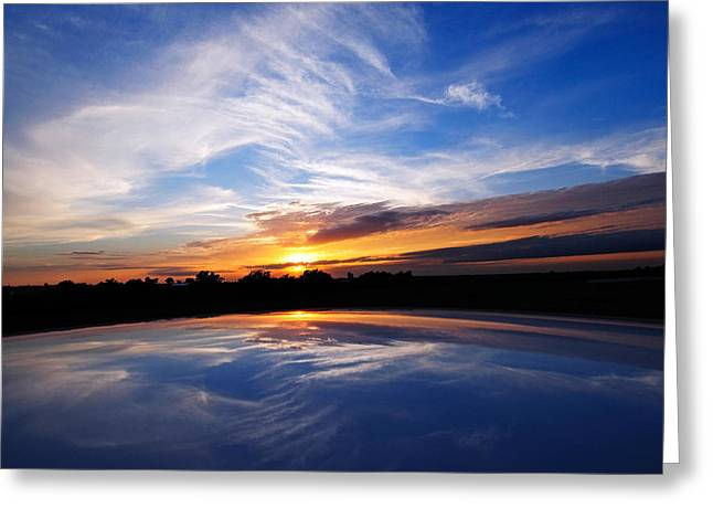 Beautiful Scenery Greeting Cards - Sunset Through The Eyes Of A Yaris Greeting Card by Charles Feagans