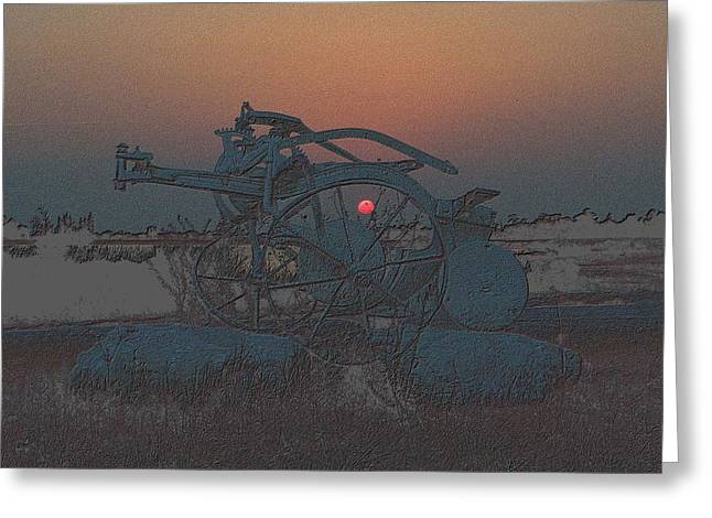 Sunset Framed Prints Drawings Greeting Cards - Sunset Through The Old Plow Greeting Card by Richard Zentner