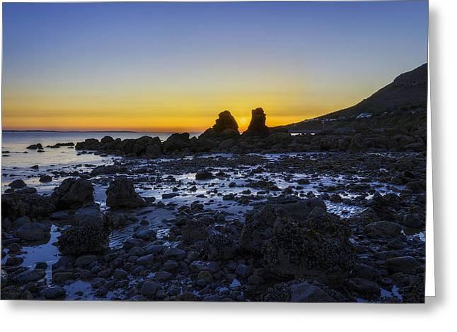 Llandudno Greeting Cards - Sunset Through The Rocks Greeting Card by Ian Mitchell