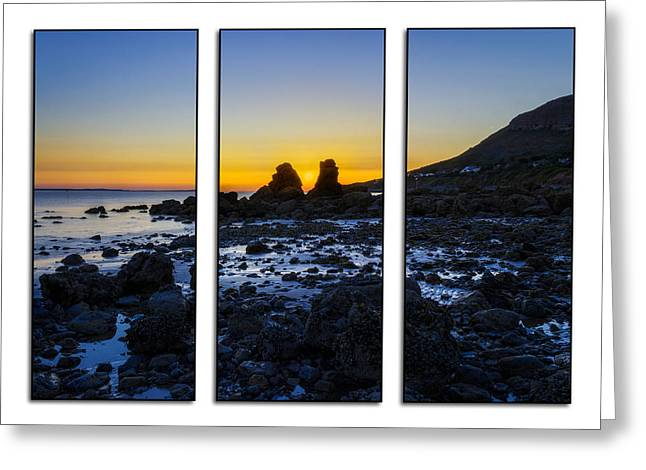 Llandudno Greeting Cards - Sunset Through The Rocks Tryptych Greeting Card by Ian Mitchell