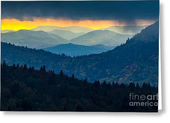 Passing Storm Greeting Cards - Sunset through the storm Greeting Card by Anthony Heflin