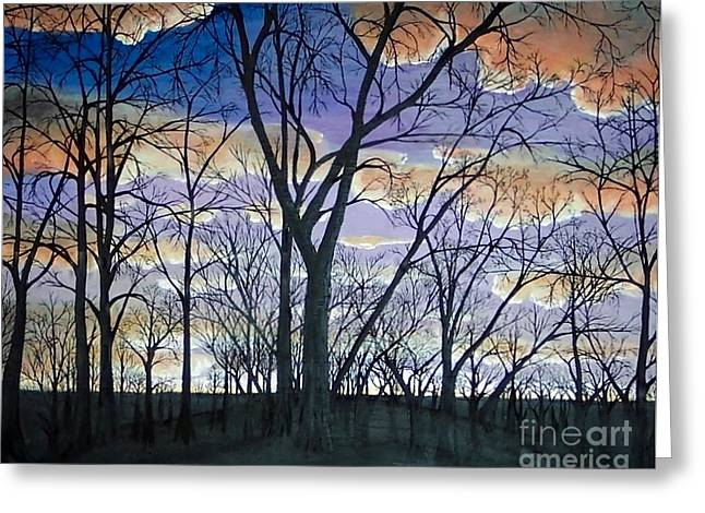 Beautiful Winter Willow Tree  Yellow Greeting Cards - Sunset through the willow trees Greeting Card by Carolyn Freligh