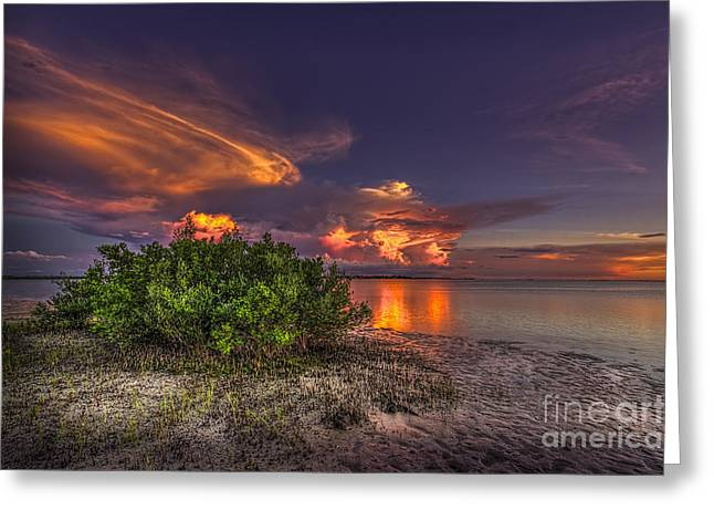 Thunder Cloud Greeting Cards - Sunset Thunder Storms Greeting Card by Marvin Spates