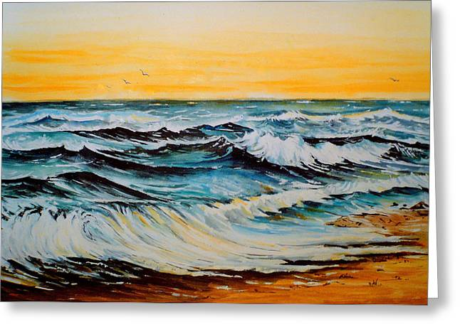 Ocean Shore Mixed Media Greeting Cards - Sunset Tide Greeting Card by Andrew Read