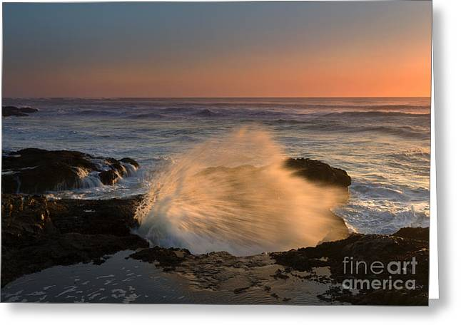 Ocean Spray Greeting Cards - Sunset Tide Explosion Greeting Card by Mike  Dawson