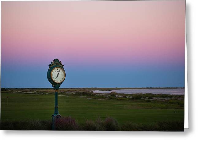 Blue Green Wave Greeting Cards - Sunset Time at the Ocean Course Greeting Card by Christy Cox