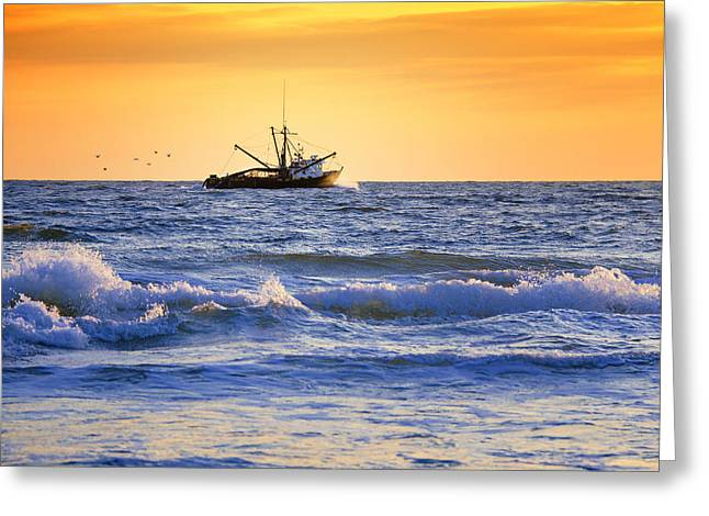 Fishing Boat Sunset Greeting Cards - Sunset Trawling Greeting Card by Vicki Jauron