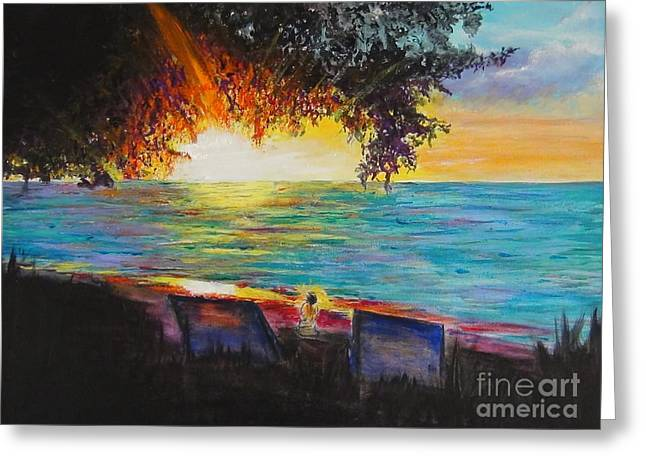 Hyperrealistic Paintings Greeting Cards - Sunset Tree Planted by The Shiny Turquoise Water Greeting Card by Connie Holman