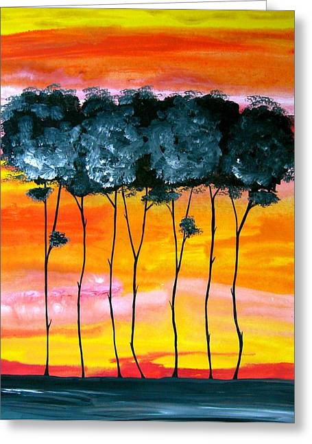 Laura Carter Greeting Cards - Sunset Trees Abstract Painting Fine Art Print Greeting Card by Laura  Carter