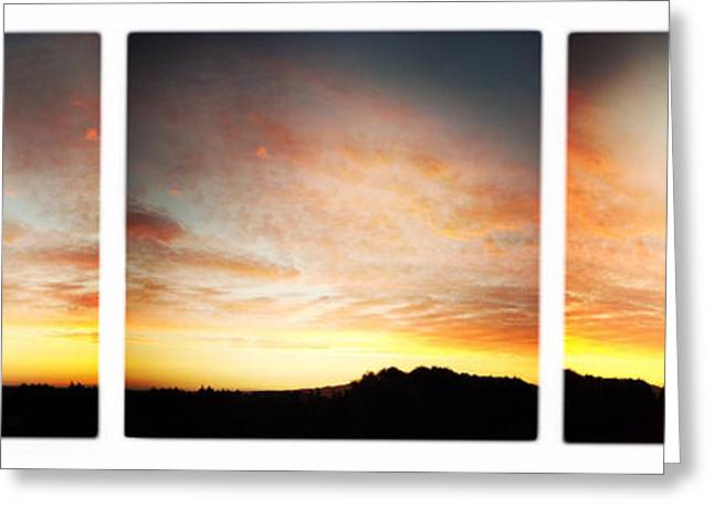 Sunset Abstract Photographs Greeting Cards - Sunset triptych Greeting Card by Les Cunliffe
