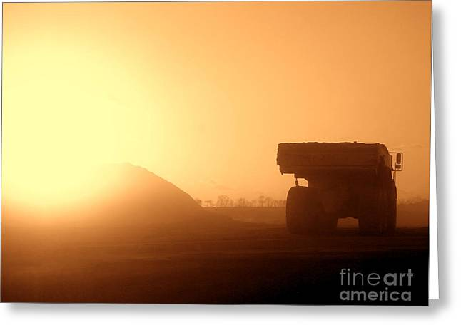 Moving Earth Greeting Cards - Sunset Truck Greeting Card by Olivier Le Queinec