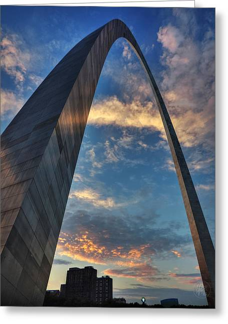 Stainless Steel Greeting Cards - Sunset Under the Gateway Arch 001 Greeting Card by Lance Vaughn