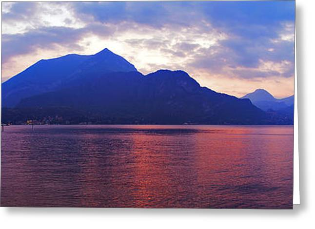 Italian Sunset Greeting Cards - Sunset Upon Lake Como Greeting Card by Adrian Alford