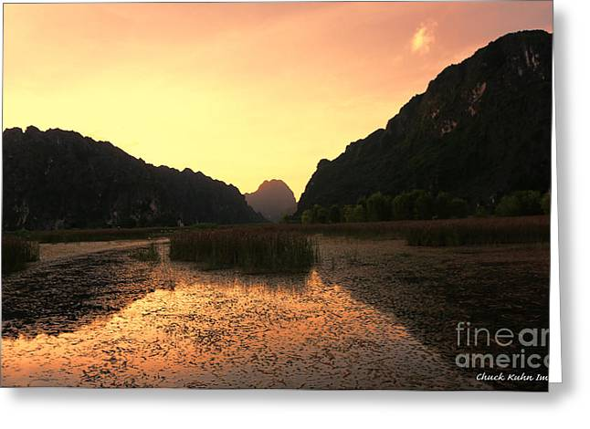 Binh Greeting Cards - Sunset Van Long Greeting Card by Chuck Kuhn