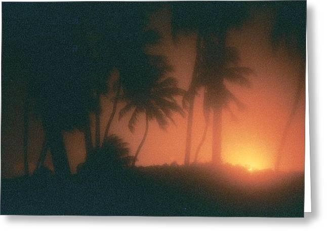 Analog Pyrography Greeting Cards - Sunset Greeting Card by Van Souza