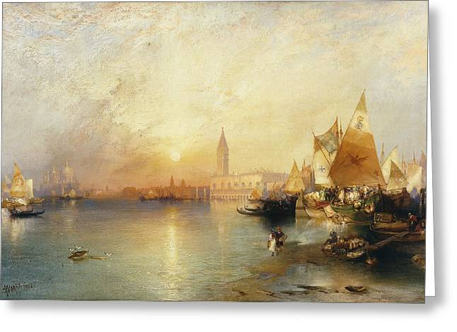 Historical Buildings Greeting Cards - Sunset Venice Greeting Card by Thomas Moran