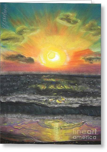 Sun Rays Pastels Greeting Cards - Sunset Greeting Card by Victor Berelovich