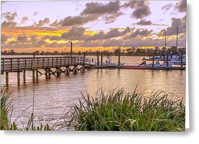 Boats At The Dock Greeting Cards - Sunset View Boardwalk Greeting Card by Mike Covington