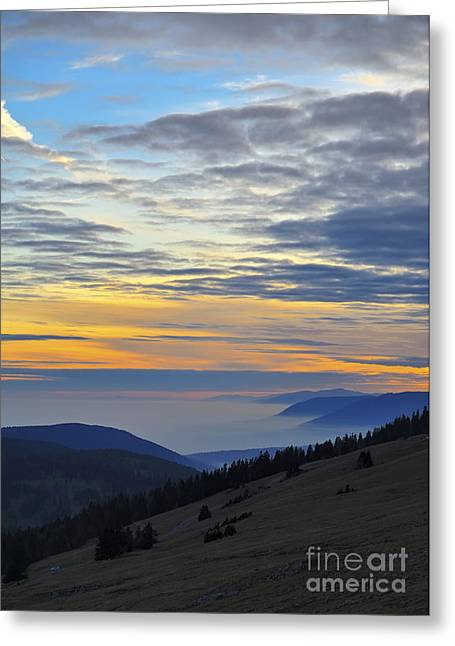Berne Canton Greeting Cards - Sunset view from Mount Chasseral - Switzerland Greeting Card by JH Photo Service