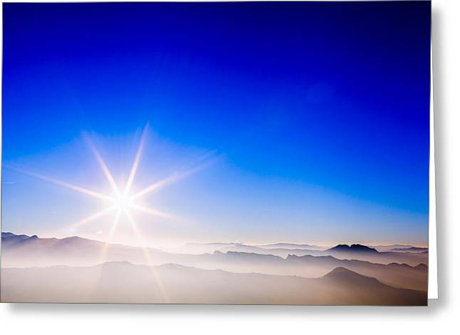 Italian Sunset Greeting Cards - Sunset view from San Marino Greeting Card by Cristian Mihaila
