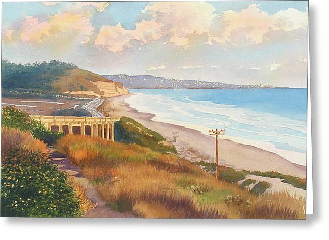 Pines Paintings Greeting Cards - Sunset View of Torrey Pines Greeting Card by Mary Helmreich