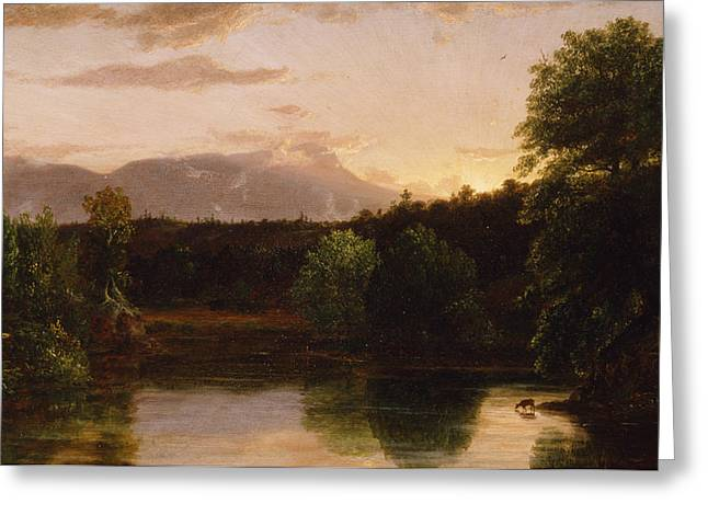 Cole Paintings Greeting Cards - Sunset  View on Catskill Creek Greeting Card by Thomas Cole