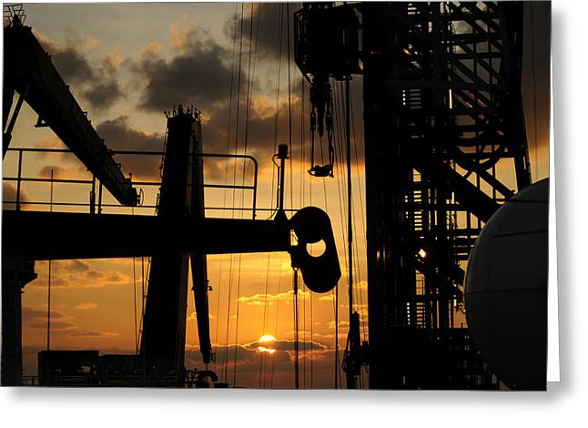 Drillship Greeting Cards - Sunset viewed from an oil rig Greeting Card by Bradford Martin