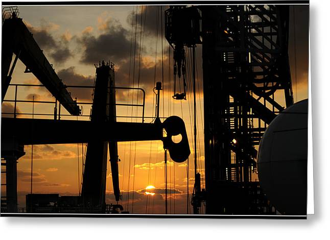 Drillship Greeting Cards - Sunset viewed from an oil rig w border Greeting Card by Bradford Martin