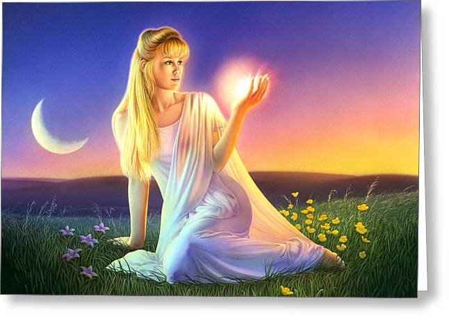 Moon Flower Greeting Cards - Sunset Visions Greeting Card by Andrew Farley