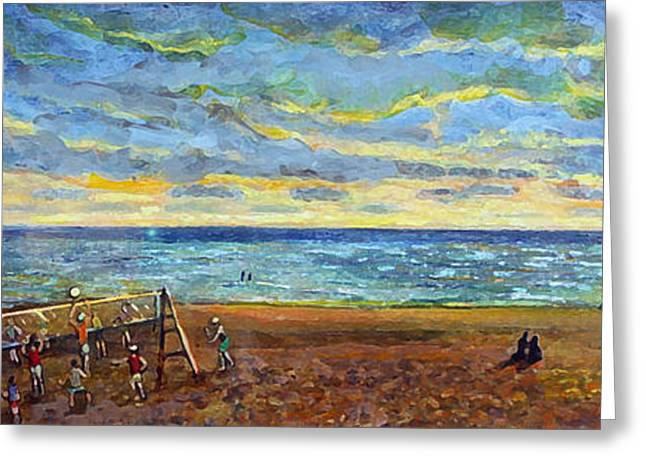 Quaker Paintings Greeting Cards - Sunset Volleyball at Old Silver Beach Greeting Card by Rita Brown