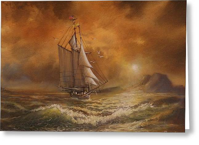 Schooner Paintings Greeting Cards - Sunset Voyage of the James Standish Greeting Card by Tom Shropshire