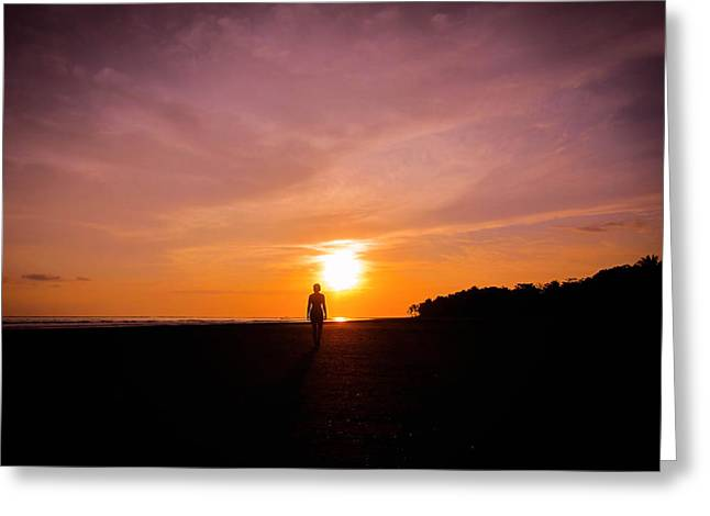 Beautiful Girl Greeting Cards - Sunset Walk Greeting Card by Nicklas Gustafsson