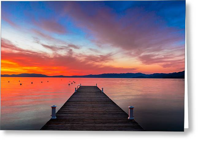 Sunset Walkway Greeting Card by Edgars Erglis