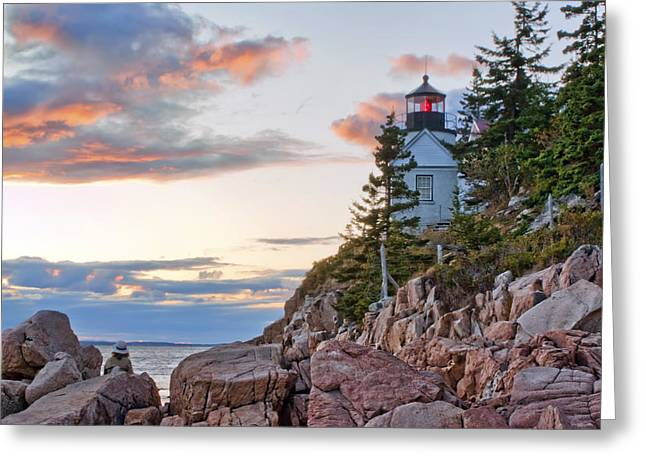 Maine Shore Greeting Cards - Sunset Watcher - Bass Harbor Head - Maine Greeting Card by Nikolyn McDonald