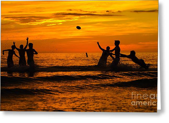 Ft. Meyers Beach Greeting Cards - Sunset Water Football Greeting Card by Anne Kitzman