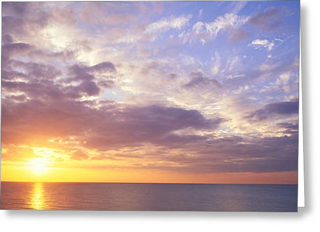 Ocean Photography Greeting Cards - Sunset, Water, Ocean, Caribbean Island Greeting Card by Panoramic Images