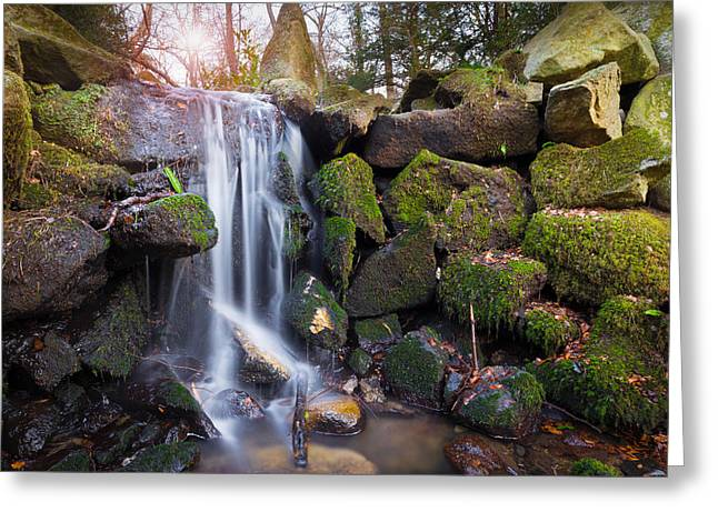 Pouring Greeting Cards - Sunset Waterfalls in Marlay Park Greeting Card by Semmick Photo