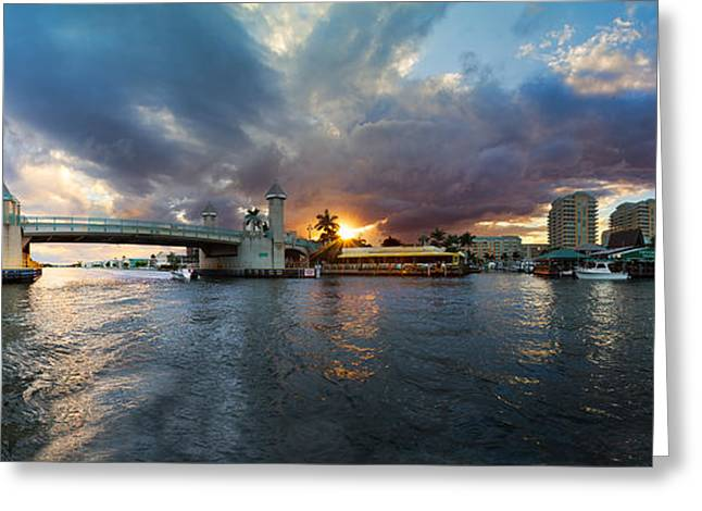 Sunset Waterway Panorama Greeting Card by Debra and Dave Vanderlaan