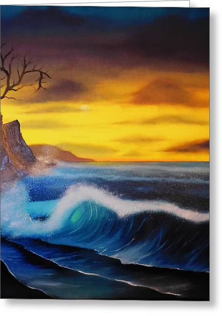 Bob Ross Paintings Greeting Cards - Sunset Wave Greeting Card by Charles Eagle