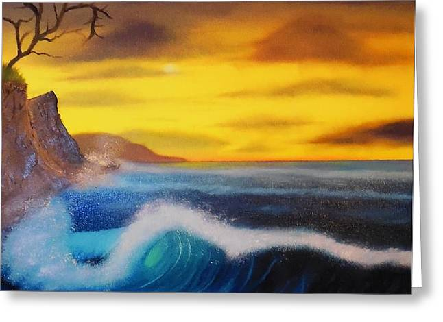 Sunset Wave Greeting Card by Charles Eagle