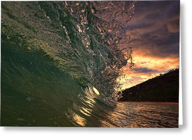 Makena Greeting Cards - Sunset Wave Greeting Card by James Roemmling