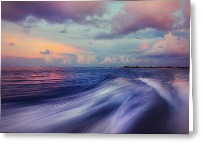 Ocean Art Photography Greeting Cards - Sunset Wave. Maldives Greeting Card by Jenny Rainbow