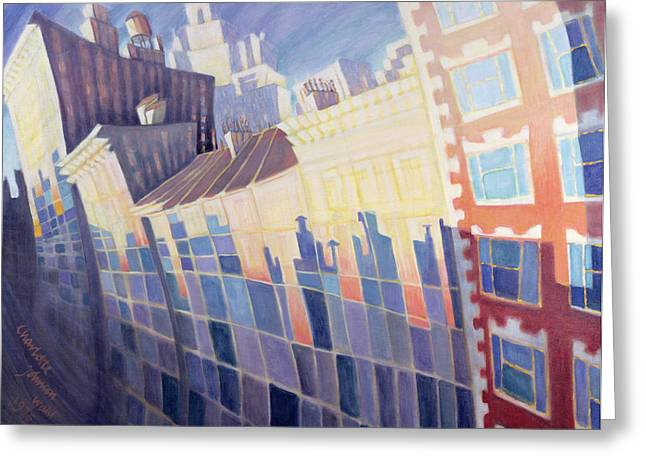Greenwich Village Greeting Cards - Sunset, Waverly Place, New York City, 1995 Oil On Canvas Greeting Card by Charlotte Johnson Wahl