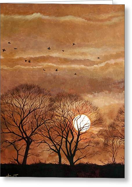 Sunset, Windsor, 2010 Greeting Card by Cruz Jurado Traverso